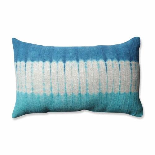 Shibori Bands Teal-Turquoise Rectangular Throw Pillow