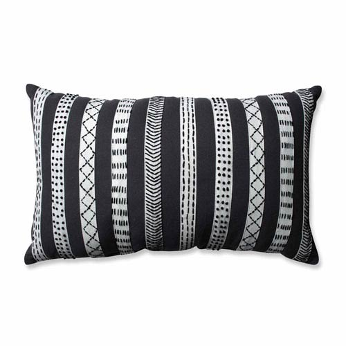 Tribal Bands Grey-Cream-Black Rectangular Throw Pillow