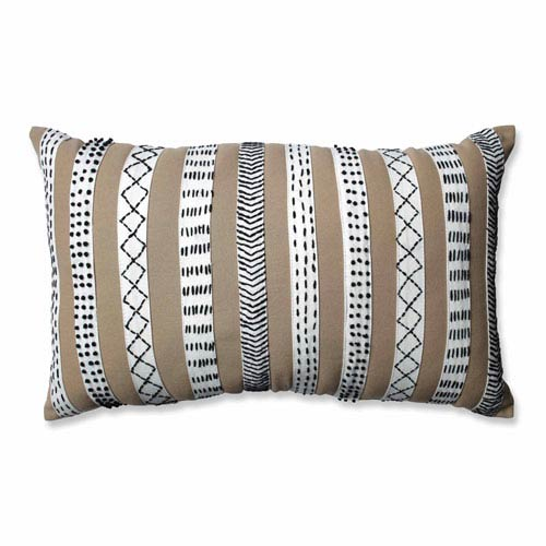 Tribal Bands Camel-Cream-Black Rectangular Throw Pillow