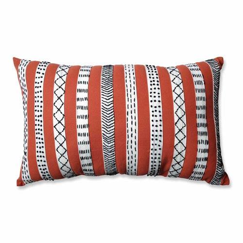 Tribal Bands Rust-Cream-Black Rectangular Throw Pillow