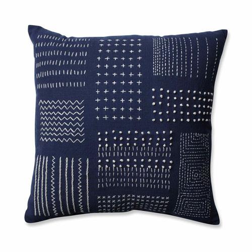 Tribal Sampler Navy-White 16.5-inch Throw Pillow