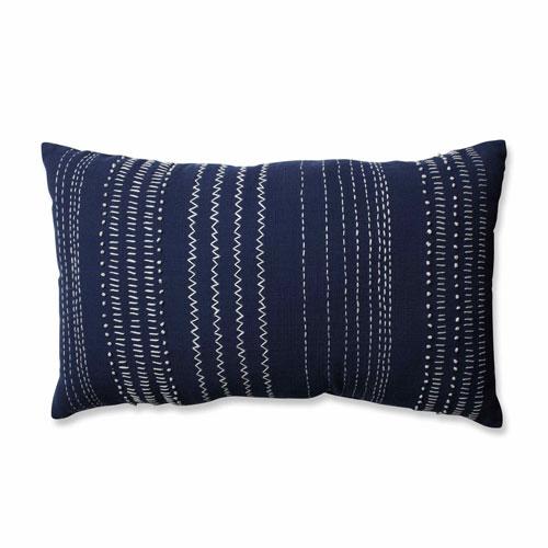 Tribal Stitches Navy-White Rectangular Throw Pillow