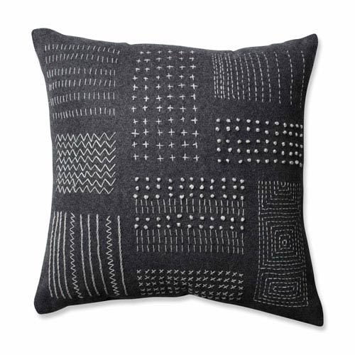 Tribal Sampler Felt Dark Melange Grey 16.5-inch Throw Pillow