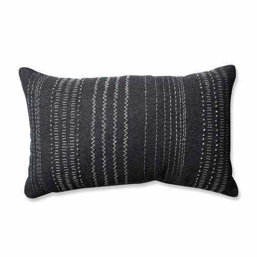 Tribal Stitches Felt Dark Melange Grey Rectangular Throw Pillow