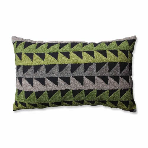 Samba Green-Grey-Black Rectangular Throw Pillow