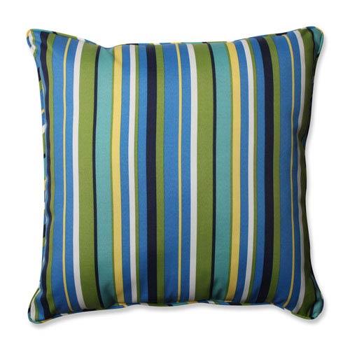 Outdoor Topanga Stripe Lagoon 25-inch Floor Pillow