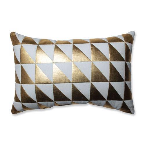 Glamour Triangle Gold-White Rectangular Throw Pillow