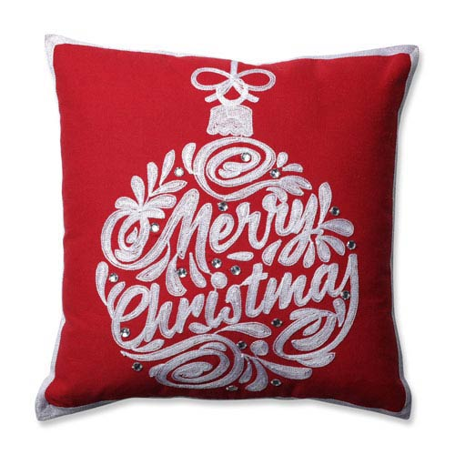 Christmas Ball Red 16.5-Inch Throw Pillow