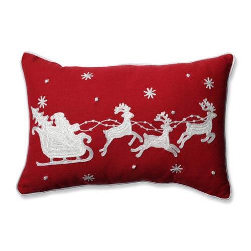 Santa Sleigh and Reindeers Red Rectangular Throw Pillow