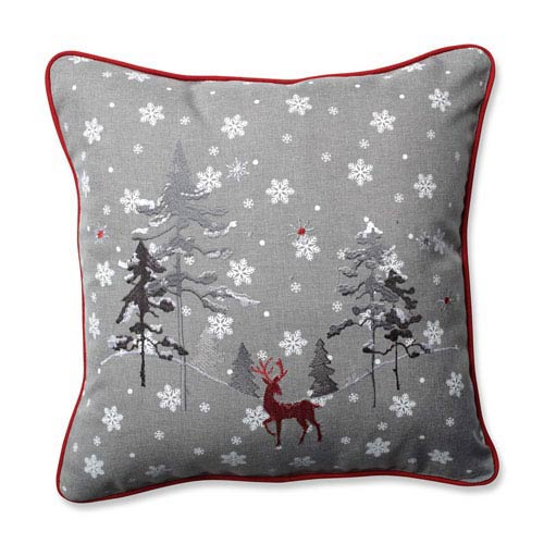 Red The Reindeer Grey 16.5-Inch Throw Pillow