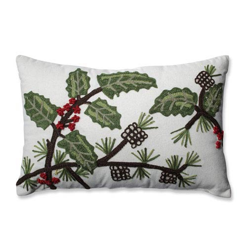 Holly and Berry Pine Rectangular Throw Pillow
