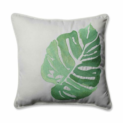 Outdoor/ Indoor Leaf Embroidery Green 18-inch Throw Pillow