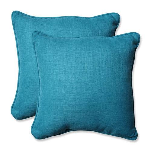 Outdoor / Indoor Rave Peacock 18.5-Inch Throw Pillow (Set of 2)