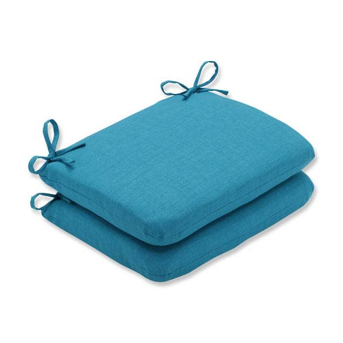 Outdoor / Indoor Rave Peacock Rounded Corners Seat Cushion (Set of 2)