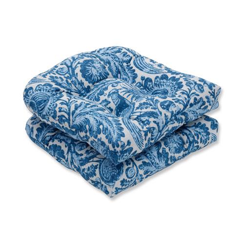 Tucker Resist Azure Blue Wicker Seat Cushion (Set of 2)