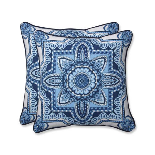 Pillow Perfect Outdoor / Indoor Malacca Blue/White 18.5-inch Throw Pillow (Set of 2)
