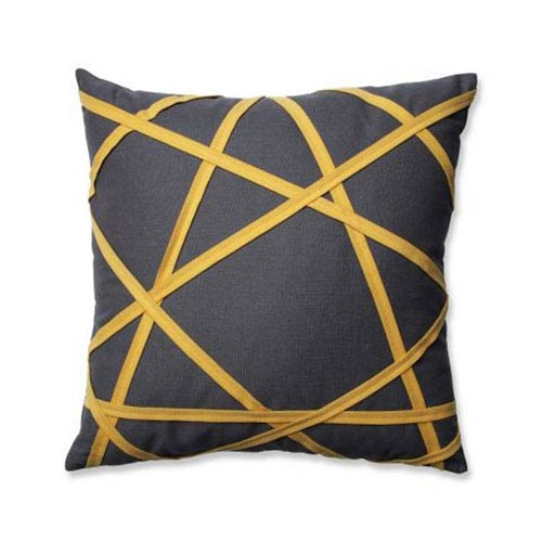 Carlyle Grey/Yellow 16.5-Inch Throw Pillow
