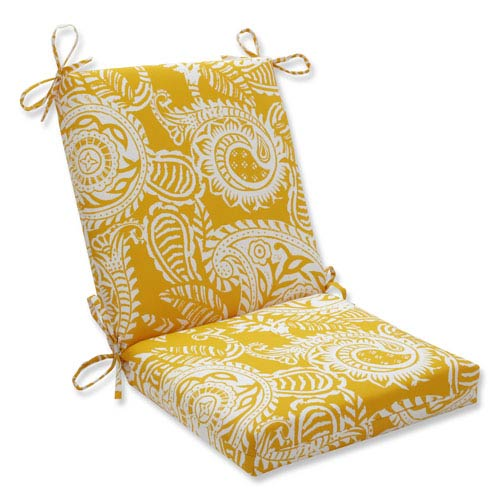 Pillow Perfect Outdoor / Indoor Addie Egg Yolk Squared Corners Chair Cushion