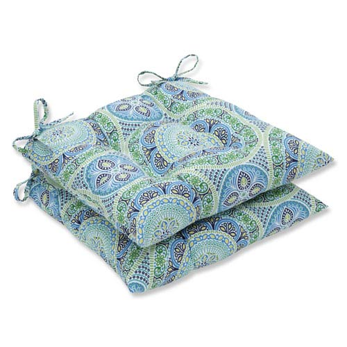 Pillow Perfect Outdoor / Indoor Delancey Lagoon Wrought Iron Seat Cushion (Set of 2)