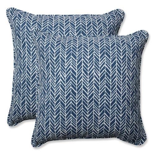 Outdoor / Indoor Herringbone Ink Blue 18.5-Inch Throw Pillow (Set of 2)