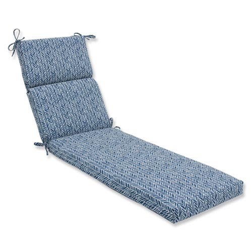 Outdoor / Indoor Herringbone Ink Blue Chaise Lounge Cushion