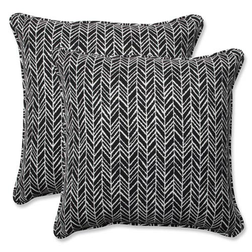 Outdoor / Indoor Herringbone Night 18.5-Inch Throw Pillow (Set of 2)