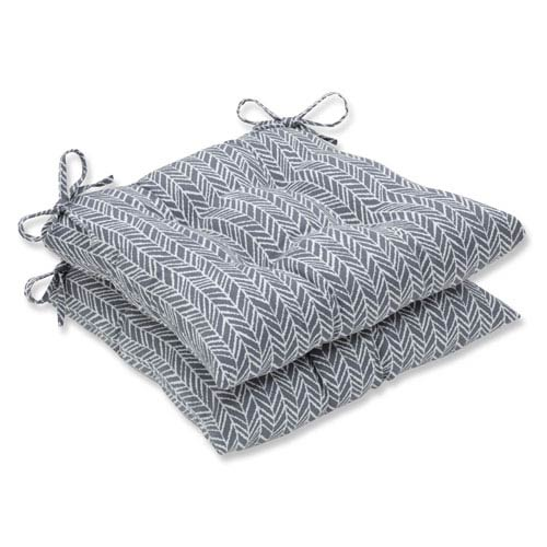 Pillow Perfect Outdoor / Indoor Herringbone Slate Wrought Iron Seat Cushion (Set of 2)