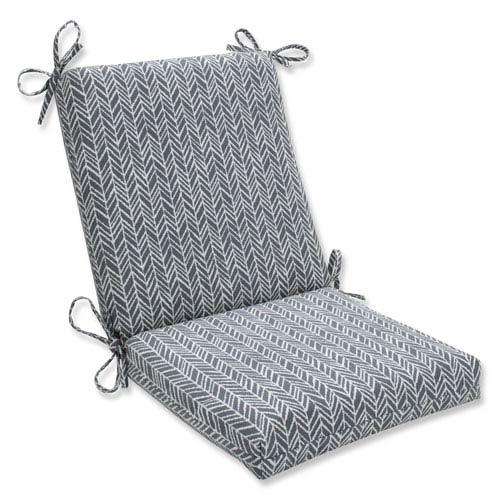Outdoor / Indoor Herringbone Slate Squared Corners Chair Cushion