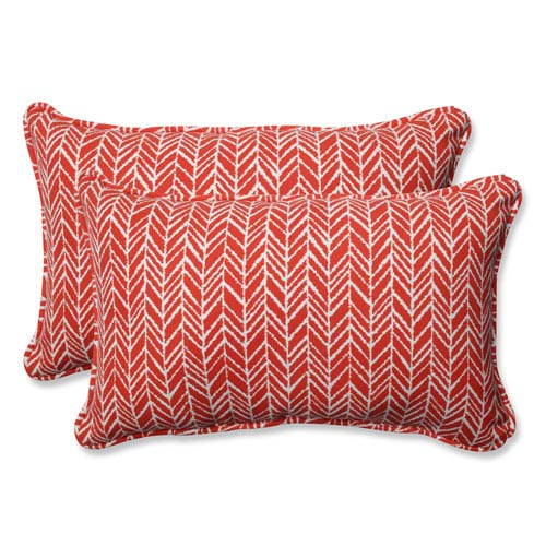 Outdoor / Indoor Herringbone Tomato Rectangular Throw Pillow (Set of 2)