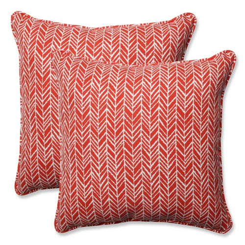 Outdoor / Indoor Herringbone Tomato 18.5-inch Throw Pillow (Set of 2)