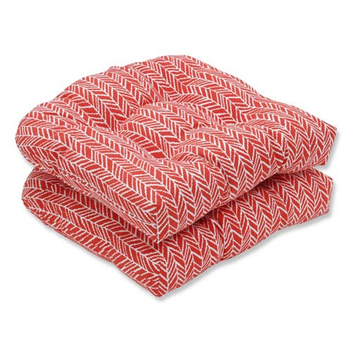 Outdoor / Indoor Herringbone Tomato Wicker Seat Cushion (Set of 2)