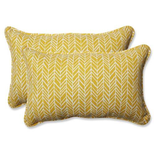 Outdoor / Indoor Herringbone Egg Yolk Rectangular Throw Pillow (Set of 2)
