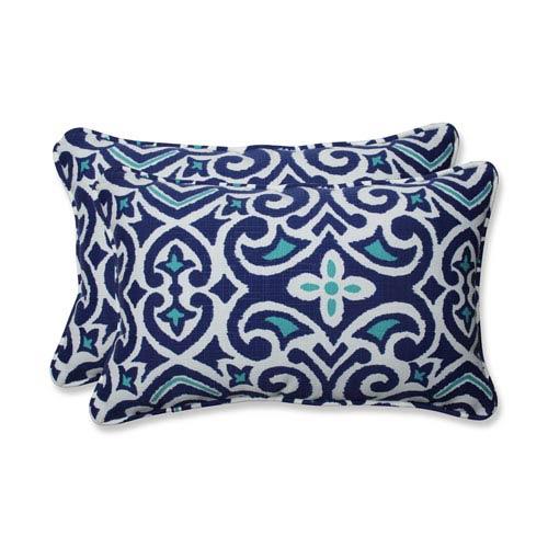 Outdoor / Indoor New Damask  Marine Rectangular Throw Pillow (Set of 2)