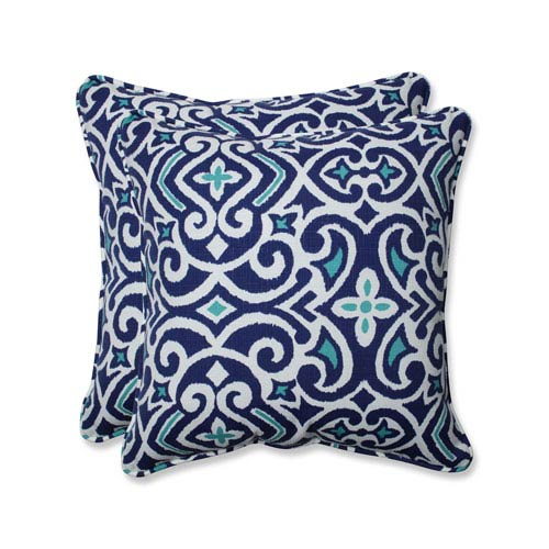 Outdoor / Indoor New Damask Marine 18.5-Inch Throw Pillow (Set of 2)