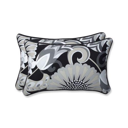Outdoor / Indoor Sophia Graphite Rectangular Throw Pillow (Set of 2)