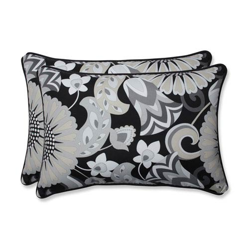 Pillow Perfect Outdoor / Indoor Sophia Graphite Over-sized Rectangular Throw Pillow (Set of 2)