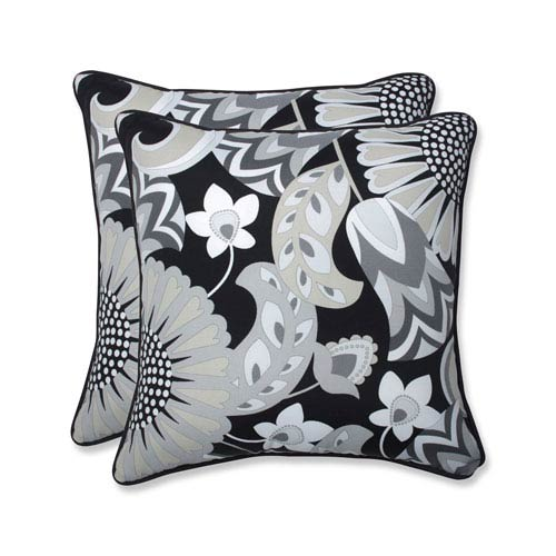 Outdoor / Indoor Sophia Graphite 18.5-Inch Throw Pillow (Set of 2)