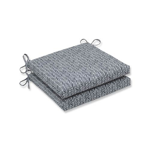 Outdoor / Indoor Herringbone Slate Squared Corners Seat Cushion 20x20x3 (Set of 2)