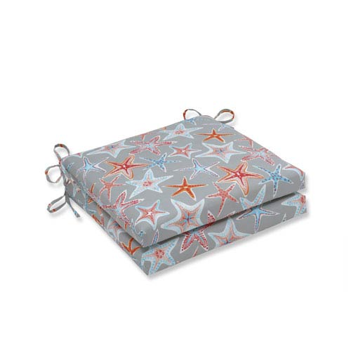 Pillow Perfect Outdoor / Indoor Stars Collide Pewter Squared Corners Seat Cushion 20x20x3 (Set of 2)