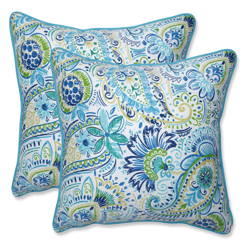 Outdoor / Indoor Gilford Baltic 18.5-Inch Throw Pillow (Set of 2)