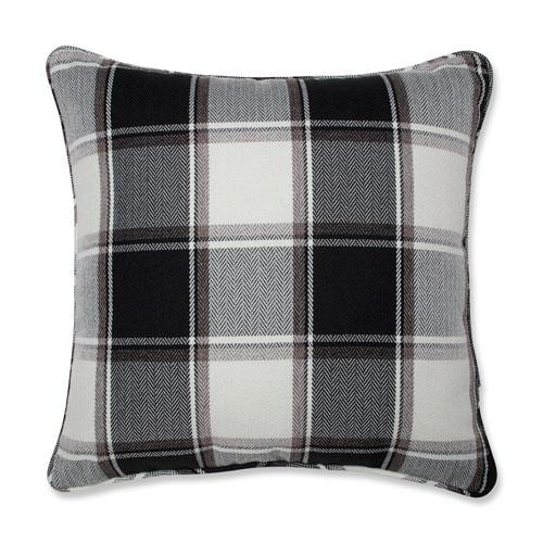 Pillow Perfect Herringbone Plaid Black 18-inch Throw Pillow