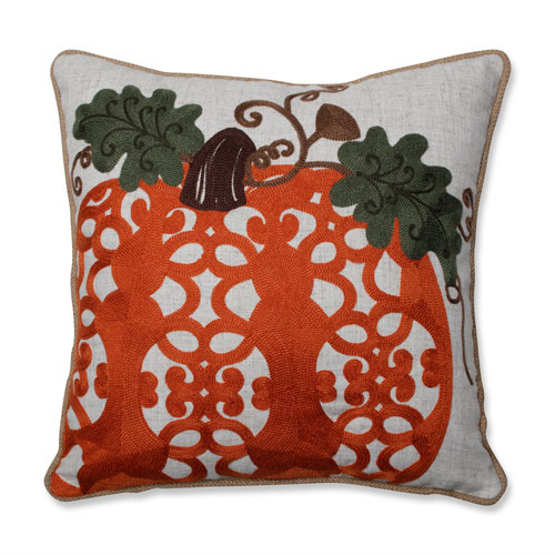Fancy Embroidered Pumpkin Orange 16-inch Throw Pillow