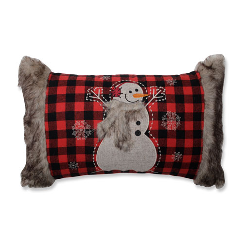 Fur Snowman Oblong Red/Black Rectangular Throw Pillow