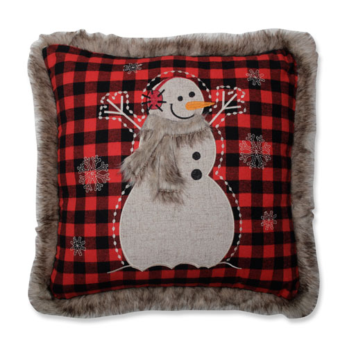 Fur Snowman Square Red/Black 18-inch Throw Pillow