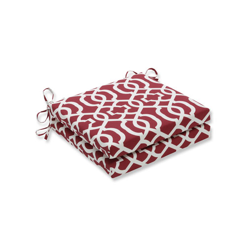 New Geo Red Squared Corners Seat Cushion, Set of 2