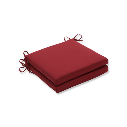 Pompeii Red Squared Corners Seat Cushion, Set of 2
