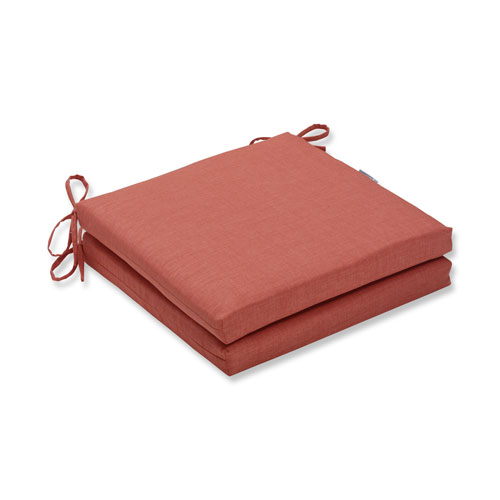 Rave Coral Squared Corners Seat Cushion, Set of 2