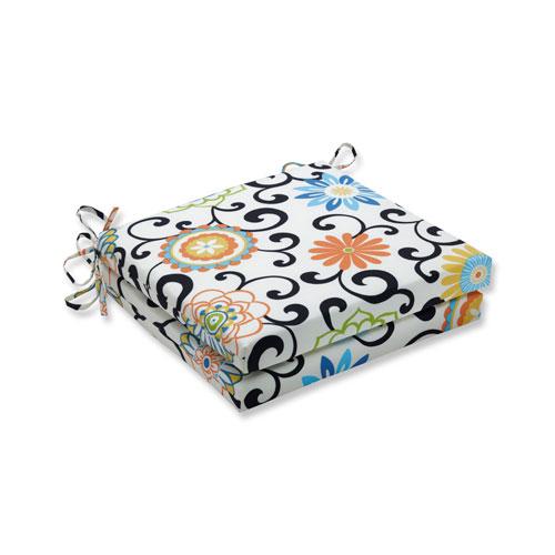 Pillow Perfect Pom Pom Play Lagoon Squared Corners Seat Cushion, Set of 2