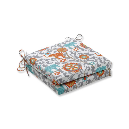 Pillow Perfect Menagerie Cayenne Squared Corners Seat Cushion, Set of 2