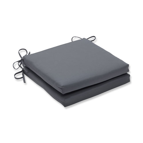 Pillow Perfect Canvas Charcoal Squared Corners Seat Cushion, Set of 2